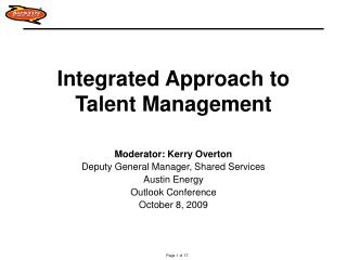 Integrated Approach to Talent Management