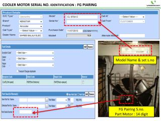 COOLER MOTOR SERIAL NO.  IDENTIFICATION  : FG PIARING