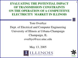 Tom Overbye Dept. of Electrical and Computer Engineering