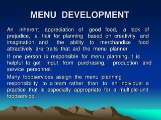 MENU  DEVELOPMENT