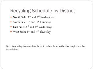 Recycling Schedule by District