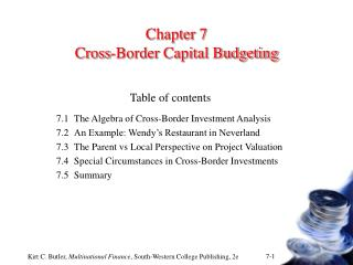 Chapter 7 Cross-Border Capital Budgeting