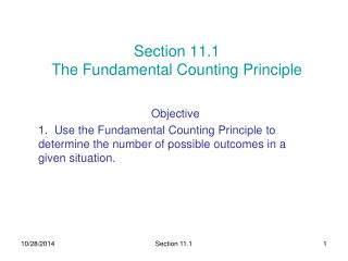 Section 11.1  The Fundamental Counting Principle