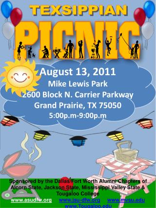 August 13, 2011 Mike Lewis Park 2600 Block N. Carrier Parkway Grand Prairie, TX 75050