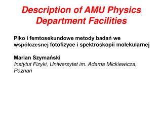 Description of AMU Physics Department Facilities