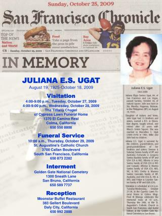 JULIANA E.S. UGAT August 19, 1925-October 18, 2009 Visitation