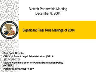 Significant Final Rule Makings of 2004