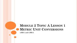 Module 2 Topic A Lesson  1 Metric Unit Conversions