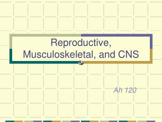 Reproductive, Musculoskeletal, and CNS
