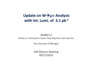 Update on  W  mn Analysis  with Int.  Lumi . of  3.1 pb -1
