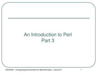 An Introduction to Perl Part 3