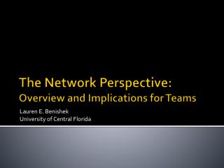 The Network Perspective: Overview and Implications for Teams