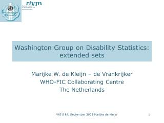 Washington Group on Disability Statistics:  extended sets