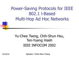Power-Saving Protocols for IEEE 802.1 l-Based Multi-Hop Ad Hoc Networks