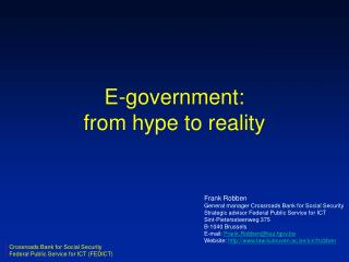 E-government: from hype to reality