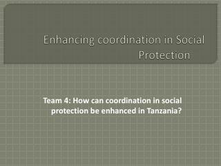 Enhancing coordination in Social Protection