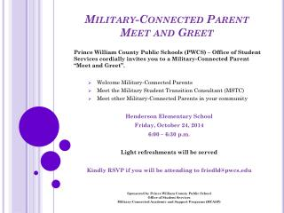 Military-Connected Parent Meet and Greet