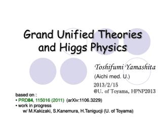 Grand Unified Theories and Higgs Physics