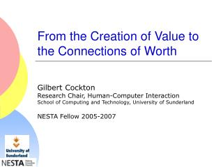 From the Creation of Value to the Connections of Worth