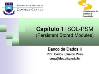 Capítulo 1 : SQL-PSM  (Persistent Stored Modules)