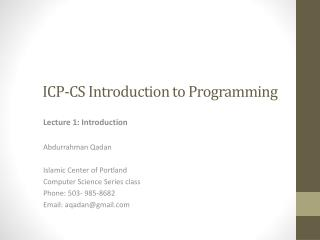 ICP-CS Introduction to Programming