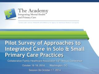 Pilot Survey of Approaches to Integrated Care in Solo & Small Primary Care Practices