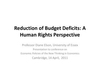 Reduction of Budget Deficits: A Human Rights Perspective