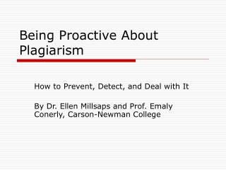 Being Proactive About Plagiarism