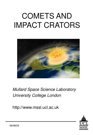 COMETS AND IMPACT CRATORS