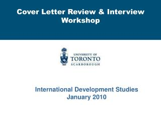 Cover Letter Review & Interview Workshop