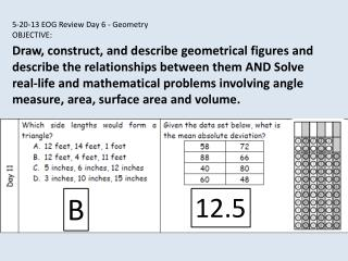 5-20-13 EOG Review Day 6 - Geometry OBJECTIVE: