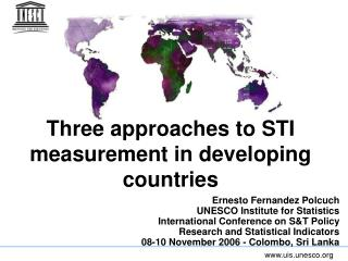 Three approaches to STI measurement in developing countries