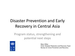 Disaster Prevention and Early Recovery in Central Asia