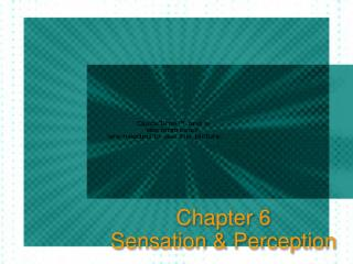 Chapter 6 Sensation & Perception