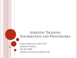 Athletic Training Information and Procedures