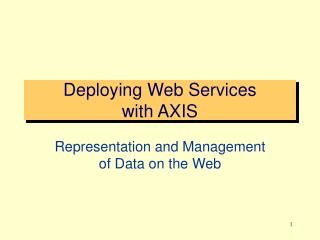 Deploying Web Services  with AXIS