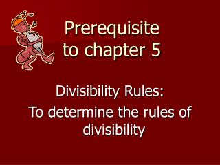 Prerequisite to chapter 5