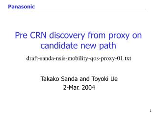 Pre CRN discovery from proxy on candidate new path