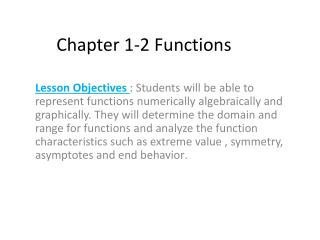 Chapter 1-2 Functions