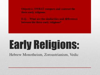 Early Religions: