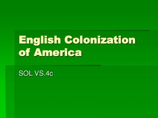 English Colonization of America