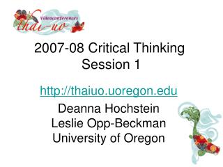 2007-08 Critical Thinking  Session 1