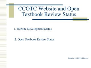 CCOTC Website and Open Textbook Review Status