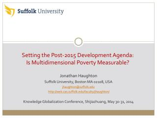 Setting the Post-2015 Development Agenda:  Is Multidimensional Poverty Measurable?