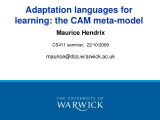 Adaptation languages for learning: the CAM meta-model