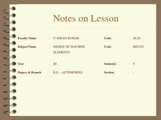 Notes on Lesson