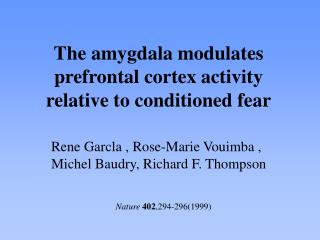 The amygdala modulates prefrontal cortex activity relative to conditioned fear