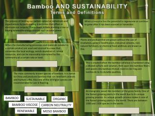 Bamboo AND SUSTAINABILITY Terms and Definitions