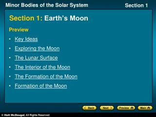 Section 1: Earth's Moon