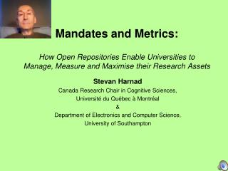 Stevan Harnad Canada Research Chair in Cognitive Sciences,  Université du Québec à Montréal &